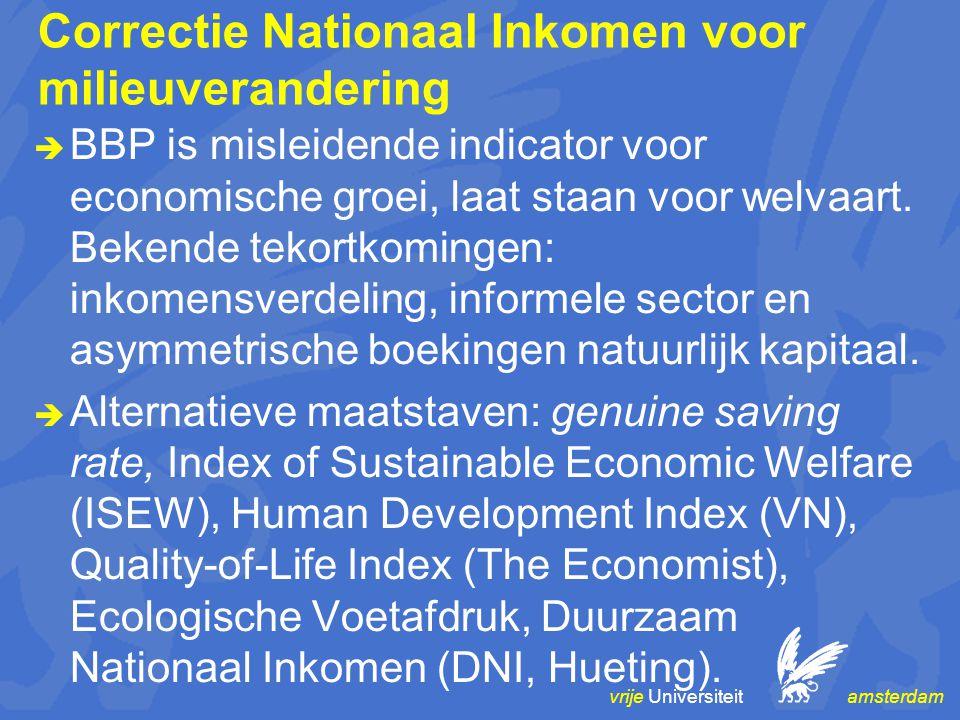 vrije Universiteit amsterdam Correctie Nationaal Inkomen voor milieuverandering  BBP is misleidende indicator voor economische groei, laat staan voor welvaart.