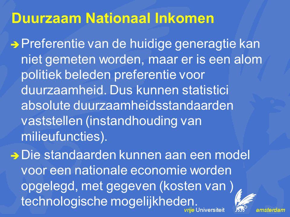 vrije Universiteit amsterdam Duurzaam Nationaal Inkomen  Preferentie van de huidige generagtie kan niet gemeten worden, maar er is een alom politiek beleden preferentie voor duurzaamheid.
