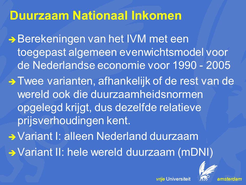 vrije Universiteit amsterdam Duurzaam Nationaal Inkomen  Berekeningen van het IVM met een toegepast algemeen evenwichtsmodel voor de Nederlandse economie voor 1990 - 2005  Twee varianten, afhankelijk of de rest van de wereld ook die duurzaamheidsnormen opgelegd krijgt, dus dezelfde relatieve prijsverhoudingen kent.