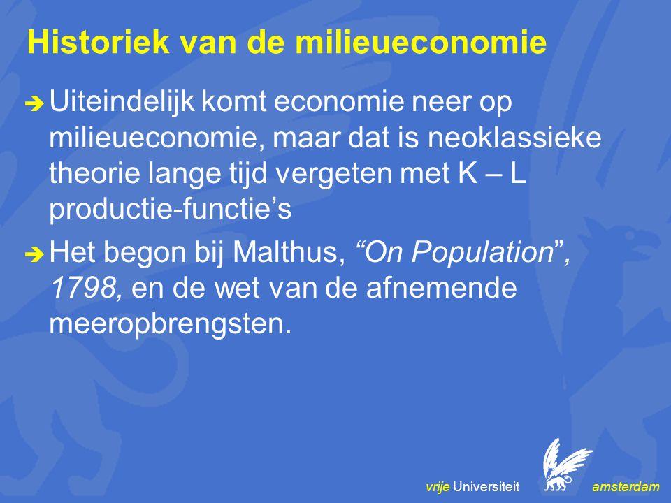 vrije Universiteit amsterdam Historiek van de milieueconomie  Uiteindelijk komt economie neer op milieueconomie, maar dat is neoklassieke theorie lange tijd vergeten met K – L productie-functie's  Het begon bij Malthus, On Population , 1798, en de wet van de afnemende meeropbrengsten.