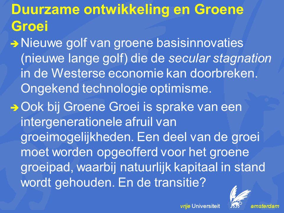 vrije Universiteit amsterdam Duurzame ontwikkeling en Groene Groei  Nieuwe golf van groene basisinnovaties (nieuwe lange golf) die de secular stagnat