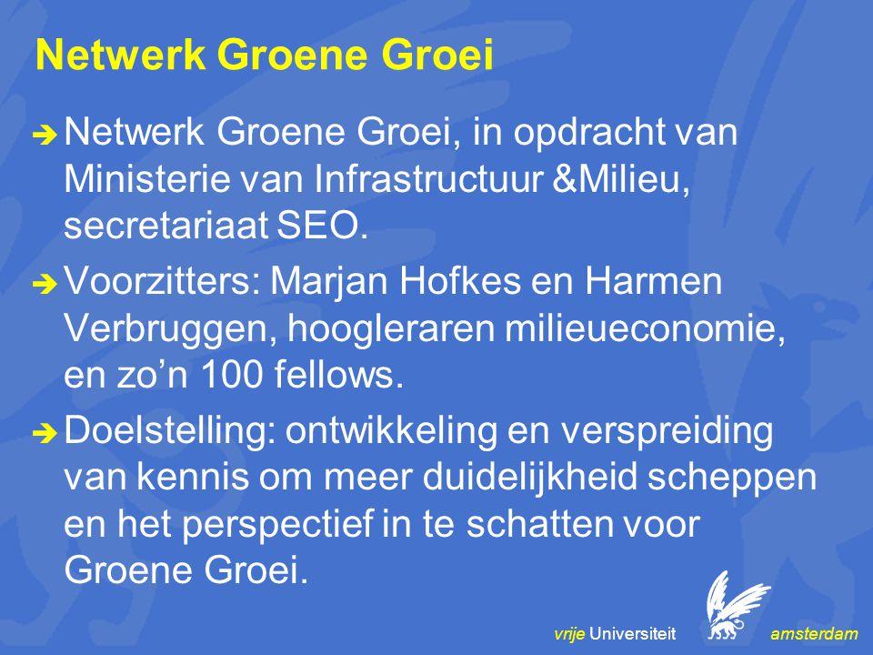 vrije Universiteit amsterdam Netwerk Groene Groei  Netwerk Groene Groei, in opdracht van Ministerie van Infrastructuur &Milieu, secretariaat SEO.  V
