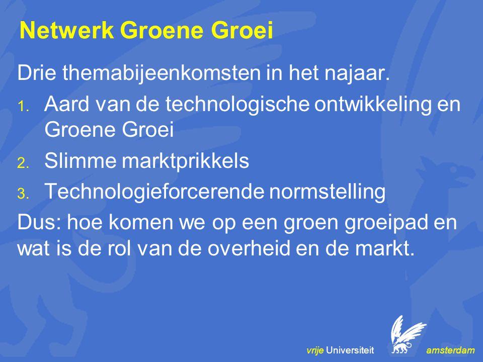 vrije Universiteit amsterdam Netwerk Groene Groei Drie themabijeenkomsten in het najaar. 1. Aard van de technologische ontwikkeling en Groene Groei 2.