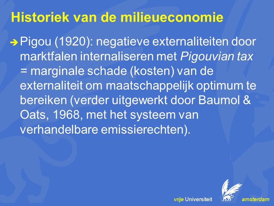vrije Universiteit amsterdam Historiek van de milieueconomie  Pigou (1920): negatieve externaliteiten door marktfalen internaliseren met Pigouvian tax = marginale schade (kosten) van de externaliteit om maatschappelijk optimum te bereiken (verder uitgewerkt door Baumol & Oats, 1968, met het systeem van verhandelbare emissierechten).