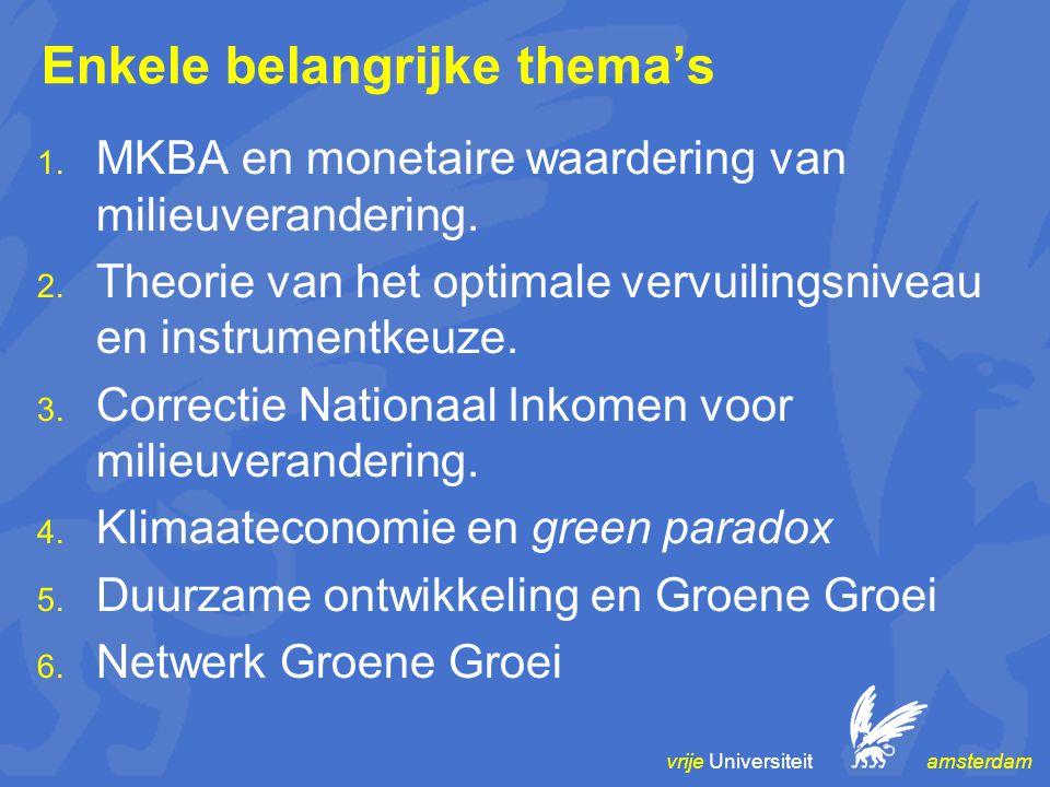 vrije Universiteit amsterdam Enkele belangrijke thema's  MKBA en monetaire waardering van milieuverandering.  Theorie van het optimale vervuilings