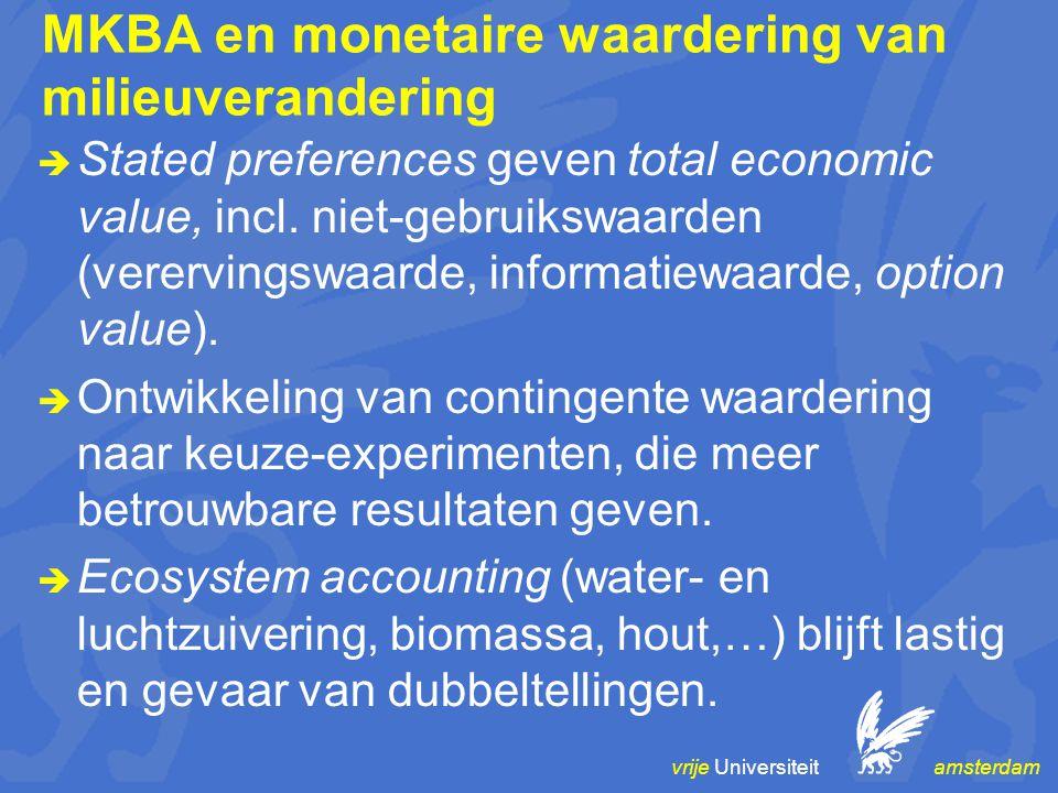 vrije Universiteit amsterdam MKBA en monetaire waardering van milieuverandering  Stated preferences geven total economic value, incl. niet-gebruikswa