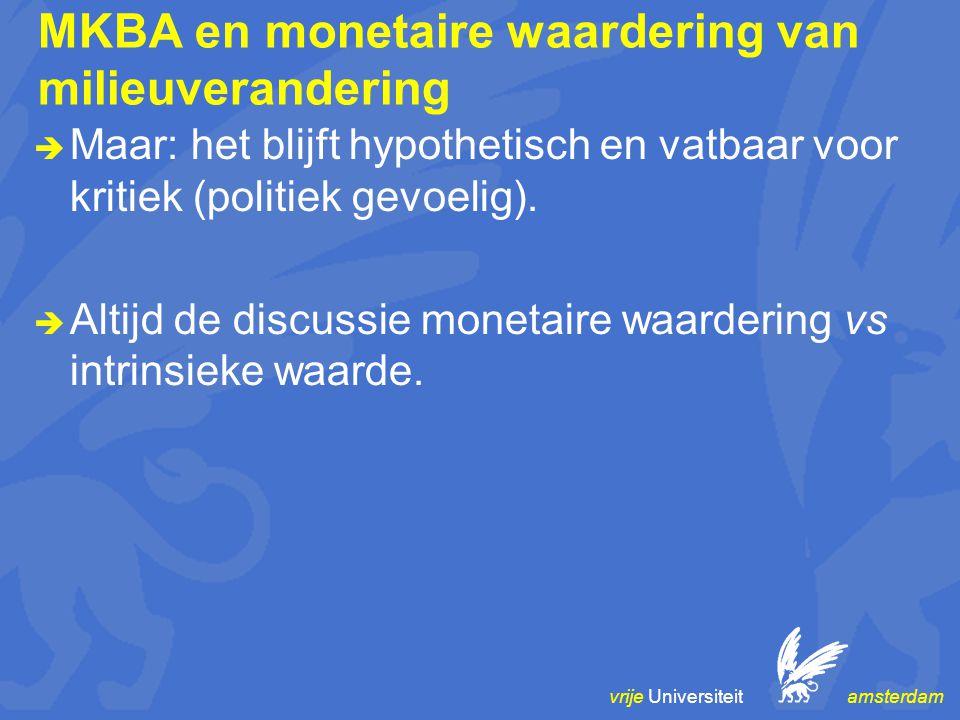 vrije Universiteit amsterdam MKBA en monetaire waardering van milieuverandering  Maar: het blijft hypothetisch en vatbaar voor kritiek (politiek gevoelig).