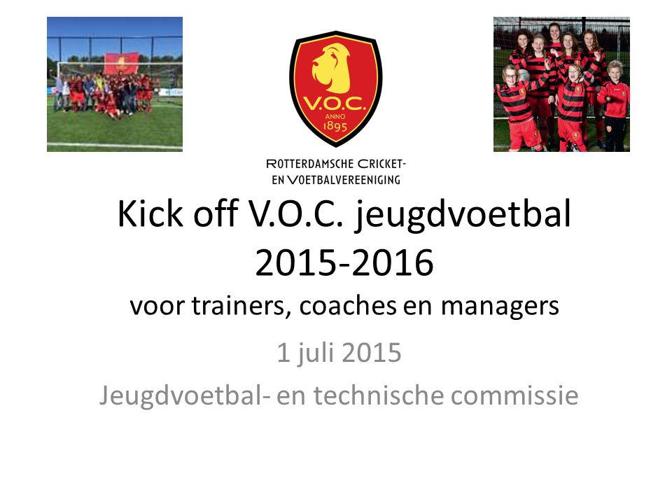 Kick off V.O.C. jeugdvoetbal 2015-2016 voor trainers, coaches en managers 1 juli 2015 Jeugdvoetbal- en technische commissie