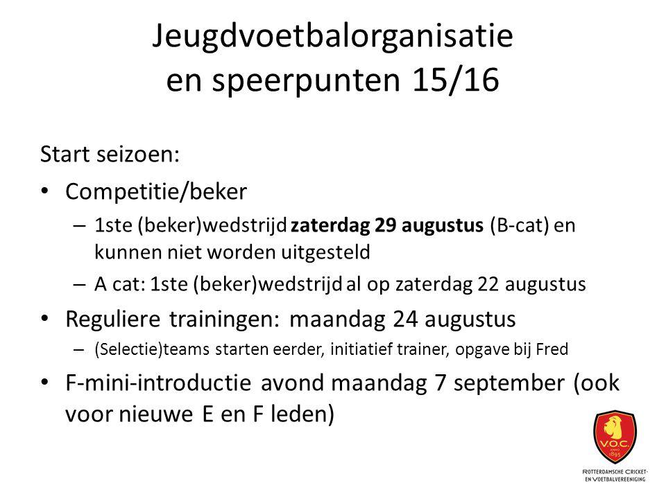 Jeugdvoetbalorganisatie en speerpunten 15/16 Start seizoen: Competitie/beker – 1ste (beker)wedstrijd zaterdag 29 augustus (B-cat) en kunnen niet worde