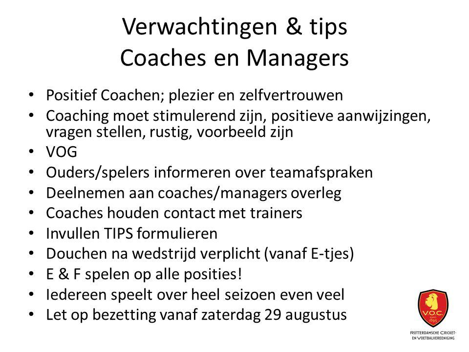 Verwachtingen & tips Coaches en Managers Positief Coachen; plezier en zelfvertrouwen Coaching moet stimulerend zijn, positieve aanwijzingen, vragen st