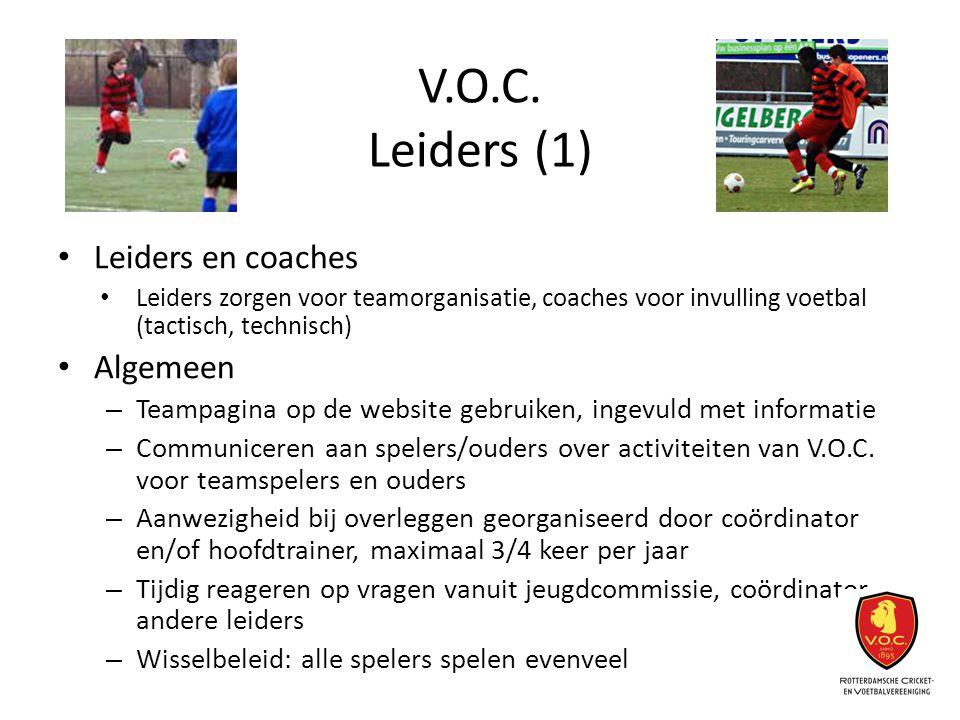 V.O.C. Leiders (1) Leiders en coaches Leiders zorgen voor teamorganisatie, coaches voor invulling voetbal (tactisch, technisch) Algemeen – Teampagina