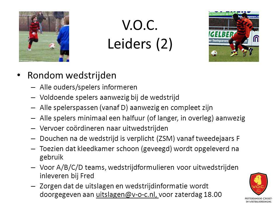 V.O.C. Leiders (2) Rondom wedstrijden – Alle ouders/spelers informeren – Voldoende spelers aanwezig bij de wedstrijd – Alle spelerspassen (vanaf D) aa