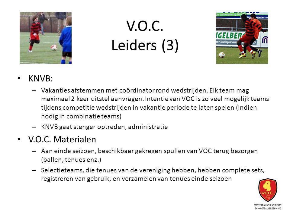 V.O.C. Leiders (3) KNVB: – Vakanties afstemmen met coördinator rond wedstrijden. Elk team mag maximaal 2 keer uitstel aanvragen. Intentie van VOC is z