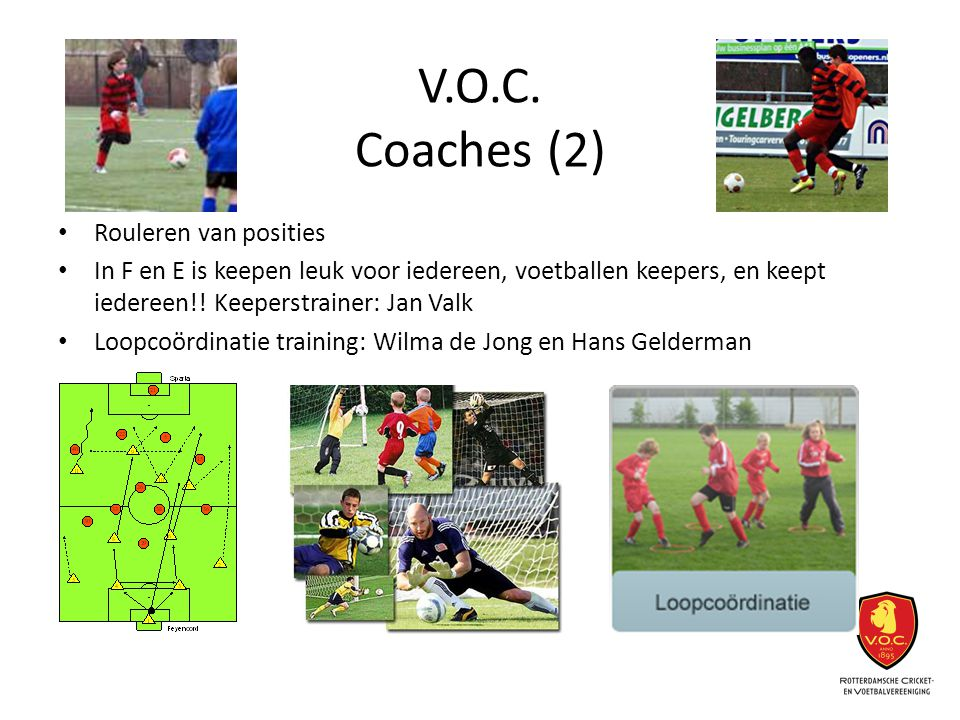 V.O.C. Coaches (2) Rouleren van posities In F en E is keepen leuk voor iedereen, voetballen keepers, en keept iedereen!! Keeperstrainer: Jan Valk Loop
