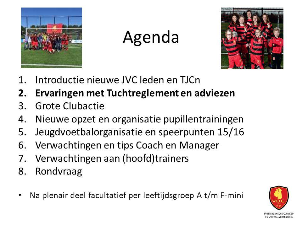 Agenda 1.Introductie nieuwe JVC leden en TJCn 2.Ervaringen met Tuchtreglement en adviezen 3.Grote Clubactie 4.Nieuwe opzet en organisatie pupillentrai
