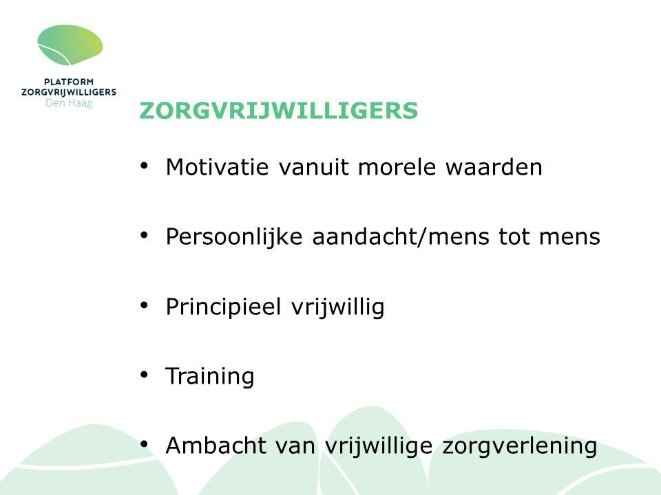 ZORGVRIJWILLIGERS Motivatie vanuit morele waarden Persoonlijke aandacht/mens tot mens Principieel vrijwillig Training Ambacht van vrijwillige zorgverlening
