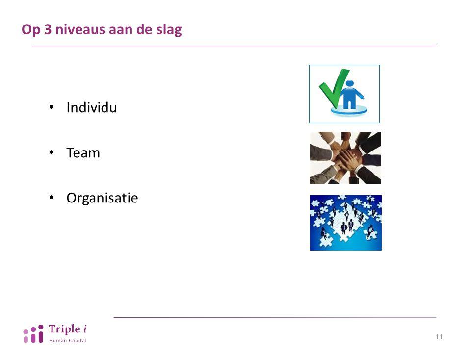 Op 3 niveaus aan de slag 11 Individu Team Organisatie