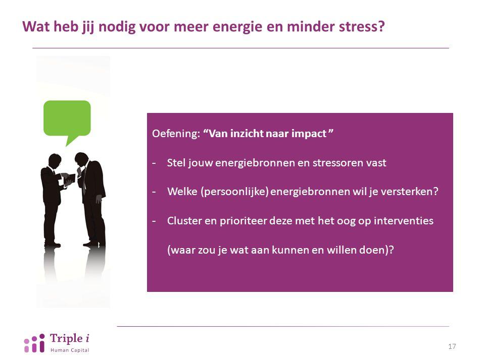 """Wat heb jij nodig voor meer energie en minder stress? 17 Oefening: """"Van inzicht naar impact """" -Stel jouw energiebronnen en stressoren vast -Welke (per"""