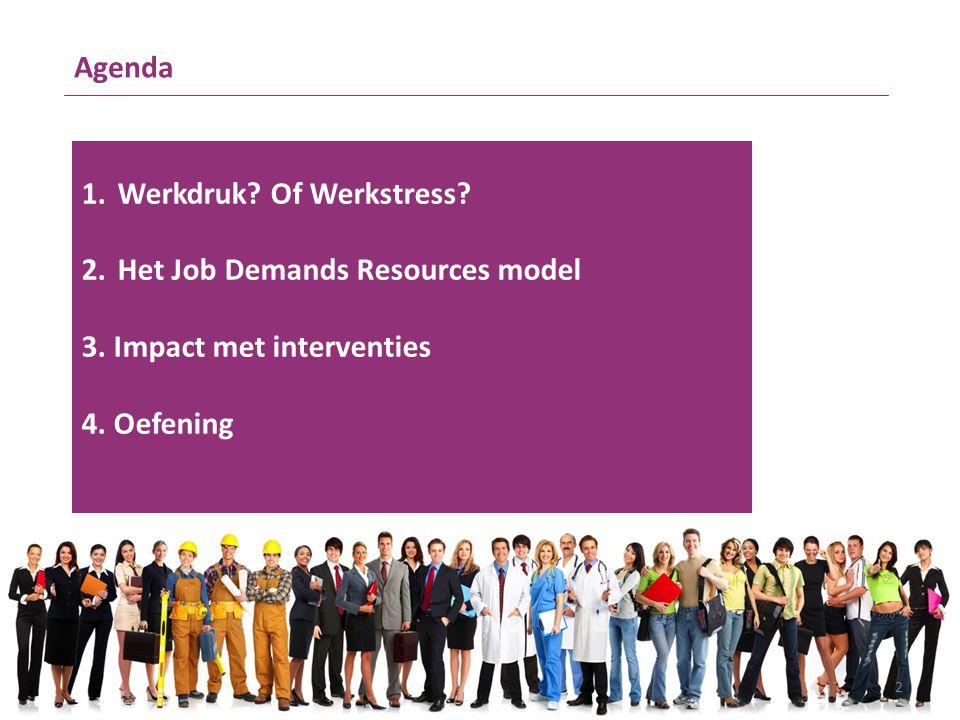 Agenda 1.Werkdruk? Of Werkstress? 2.Het Job Demands Resources model 3. Impact met interventies 4. Oefening 2