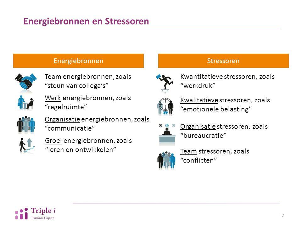 """Energiebronnen en Stressoren EnergiebronnenStressoren Team energiebronnen, zoals """"steun van collega's"""" Werk energiebronnen, zoals """"regelruimte"""" Organi"""