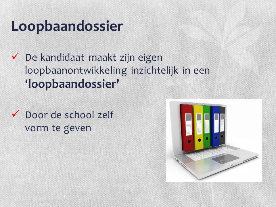 Loopbaandossier De kandidaat maakt zijn eigen loopbaanontwikkeling inzichtelijk in een 'loopbaandossier' Door de school zelf vorm te geven