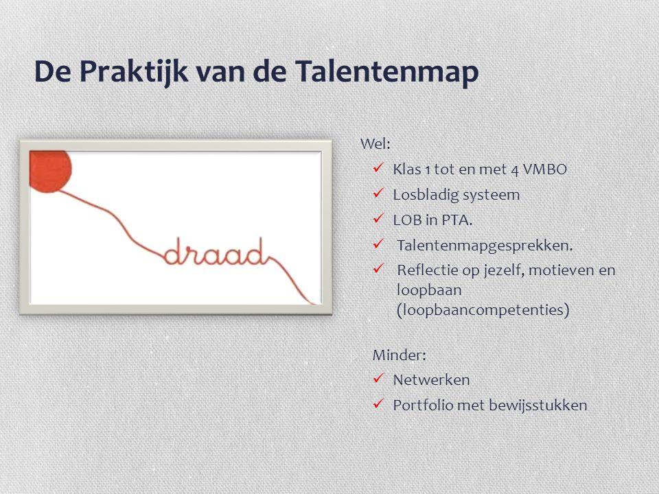 De Praktijk van de Talentenmap Wel: Klas 1 tot en met 4 VMBO Losbladig systeem LOB in PTA. Talentenmapgesprekken. Reflectie op jezelf, motieven en loo
