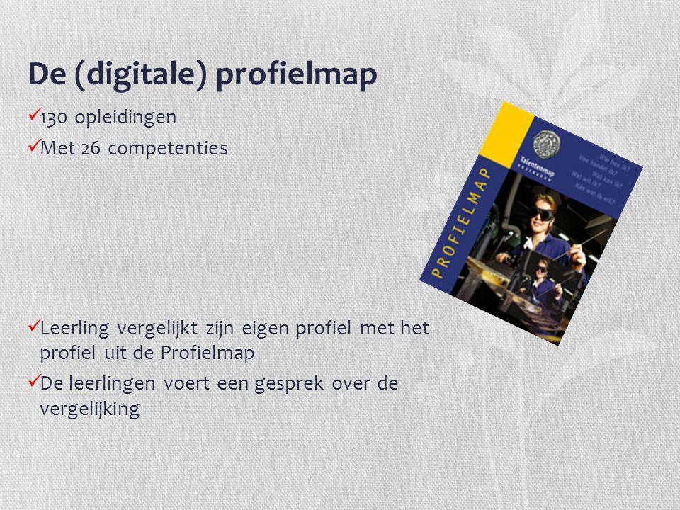 De (digitale) profielmap 130 opleidingen Met 26 competenties Leerling vergelijkt zijn eigen profiel met het profiel uit de Profielmap De leerlingen vo