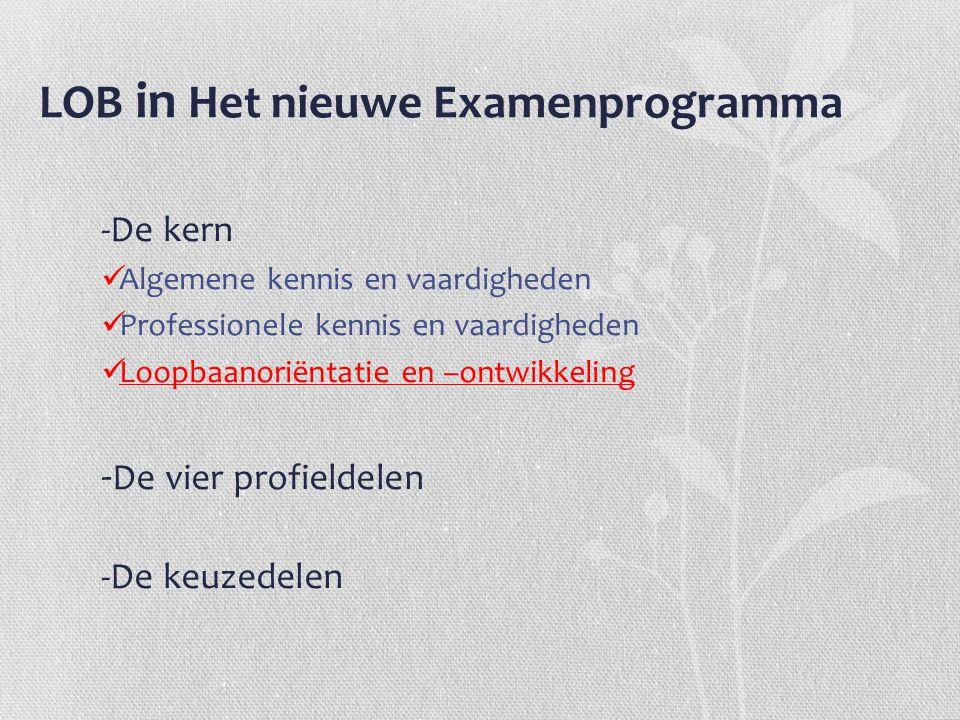 LOB in Het nieuwe Examenprogramma -De kern Algemene kennis en vaardigheden Professionele kennis en vaardigheden Loopbaanoriëntatie en –ontwikkeling -