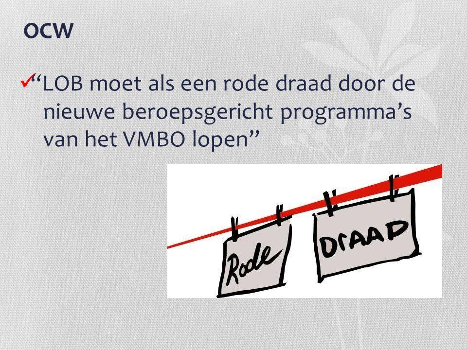 """OCW """"LOB moet als een rode draad door de nieuwe beroepsgericht programma's van het VMBO lopen"""""""