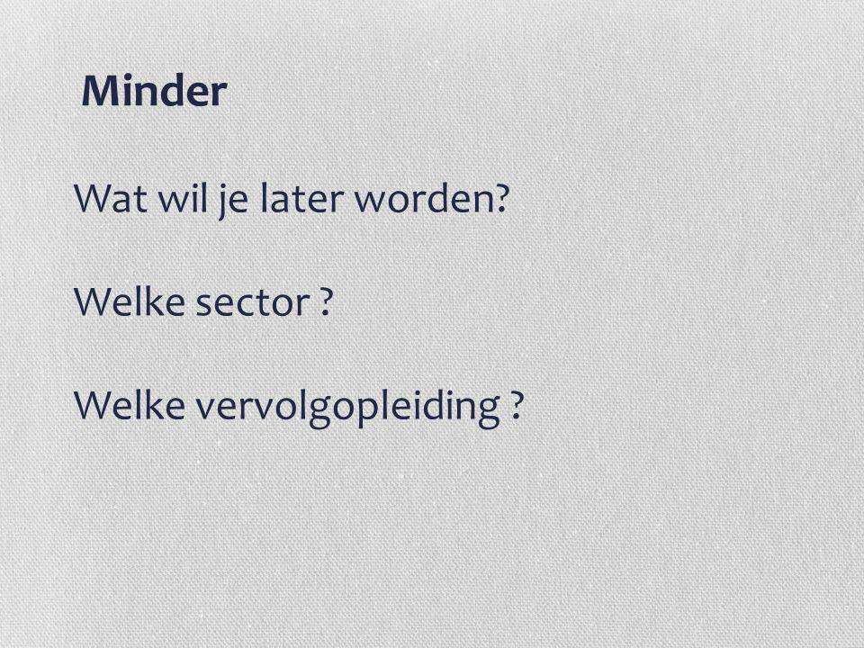 Minder Wat wil je later worden? Welke sector ? Welke vervolgopleiding ?