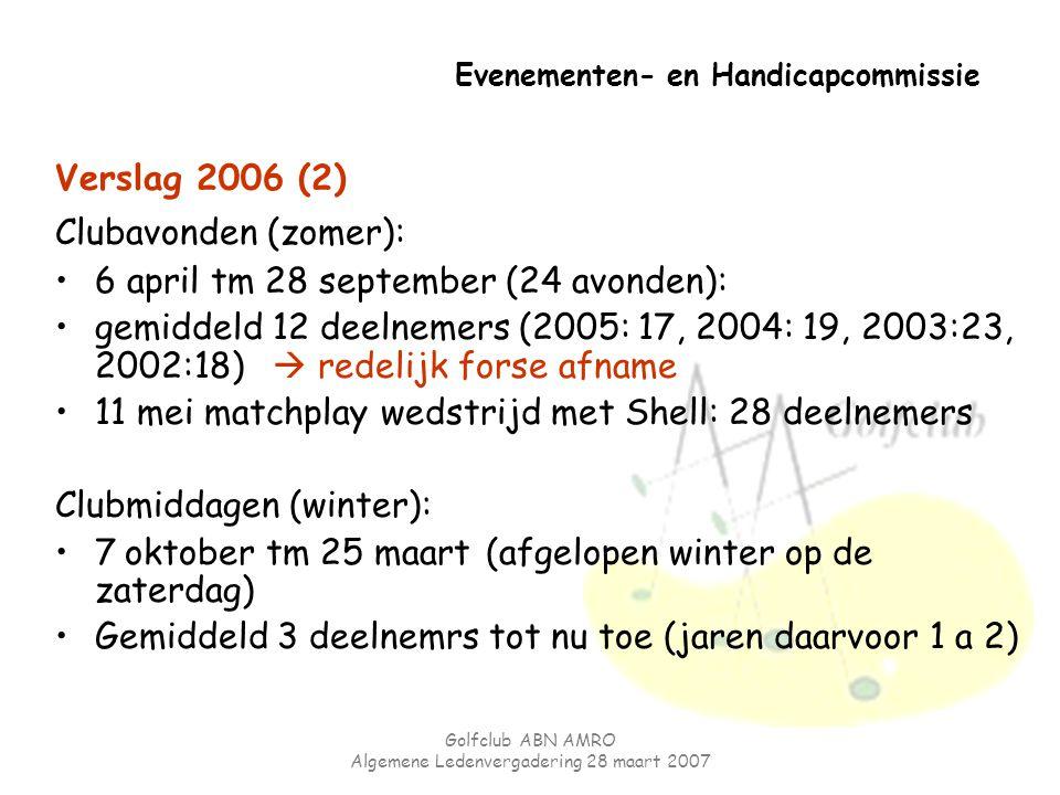 Golfclub ABN AMRO Algemene Ledenvergadering 28 maart 2007 Evenementen- en Handicapcommissie Verslag 2006 (2) Clubavonden (zomer): 6 april tm 28 septem
