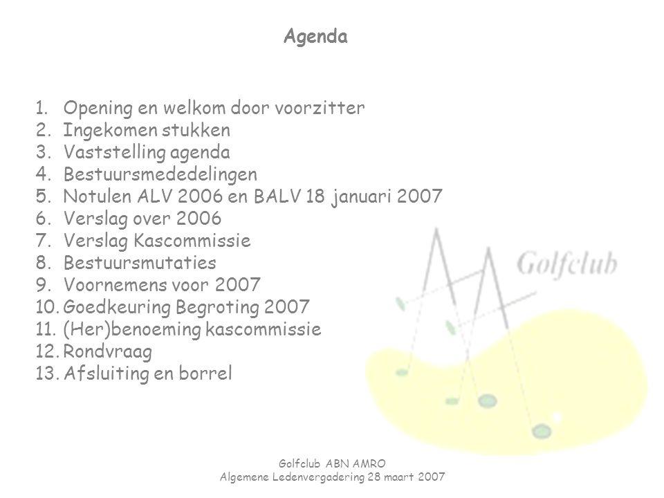 Golfclub ABN AMRO Algemene Ledenvergadering 28 maart 2007 Agenda 1.Opening en welkom door voorzitter 2.Ingekomen stukken 3.Vaststelling agenda 4.Bestu
