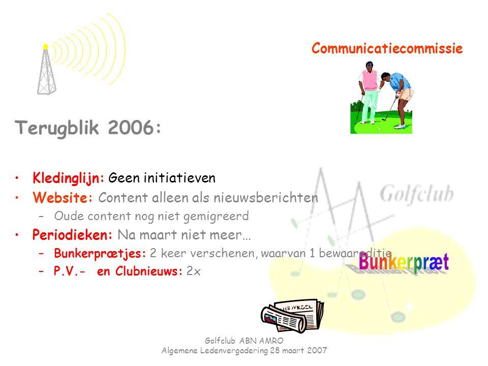 Golfclub ABN AMRO Algemene Ledenvergadering 28 maart 2007 Communicatiecommissie Terugblik 2006: Kledinglijn: Geen initiatieven Website: Content alleen