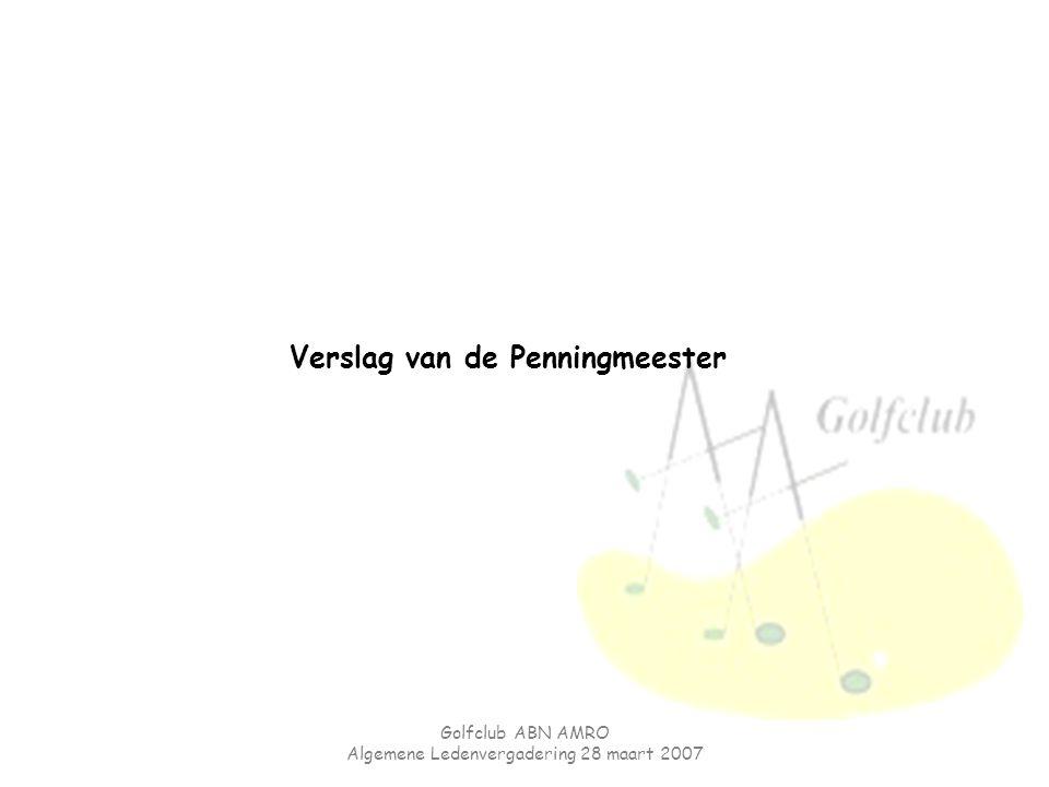 Golfclub ABN AMRO Algemene Ledenvergadering 28 maart 2007 Verslag van de Penningmeester
