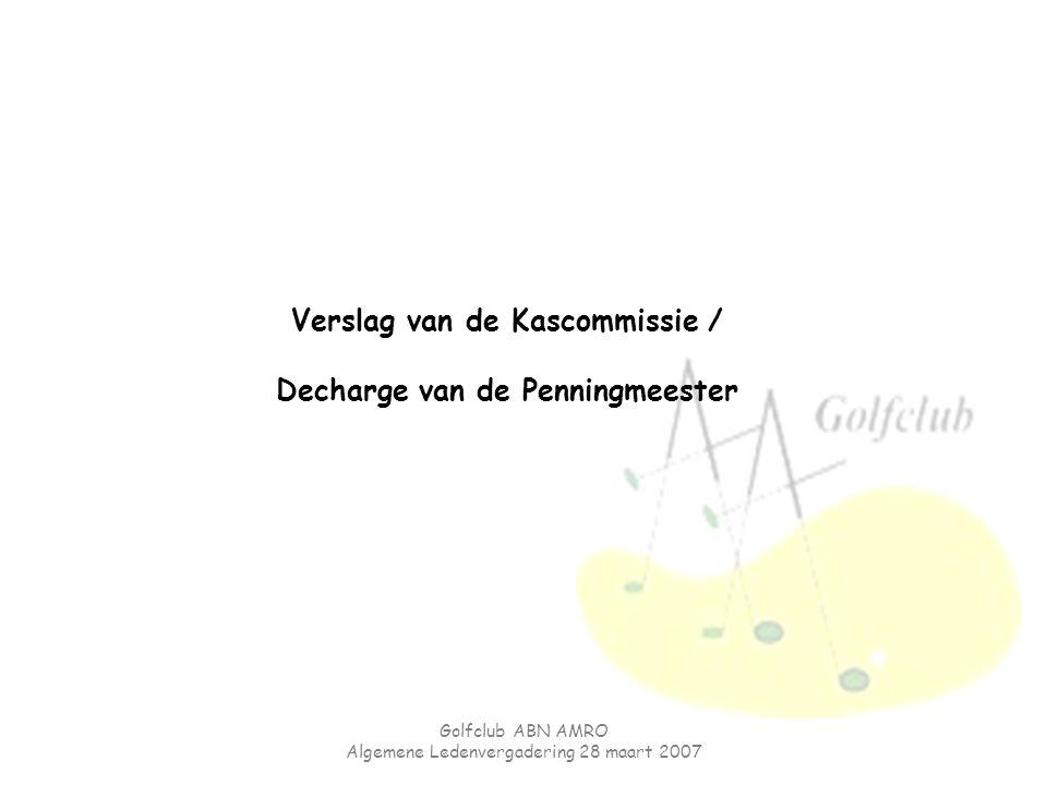 Golfclub ABN AMRO Algemene Ledenvergadering 28 maart 2007 Verslag van de Kascommissie / Decharge van de Penningmeester