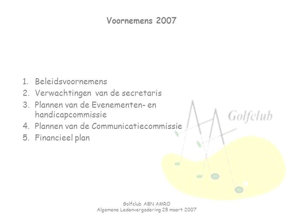 Golfclub ABN AMRO Algemene Ledenvergadering 28 maart 2007 Voornemens 2007 1.Beleidsvoornemens 2.Verwachtingen van de secretaris 3.Plannen van de Evene