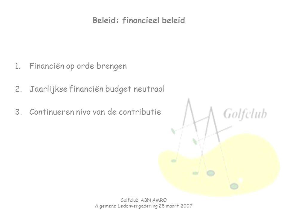 Golfclub ABN AMRO Algemene Ledenvergadering 28 maart 2007 Beleid: financieel beleid 1.Financiën op orde brengen 2.Jaarlijkse financiën budget neutraal