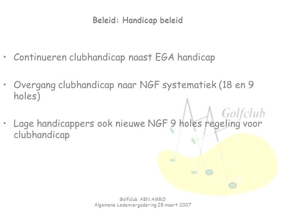 Golfclub ABN AMRO Algemene Ledenvergadering 28 maart 2007 Beleid: Handicap beleid Continueren clubhandicap naast EGA handicap Overgang clubhandicap na