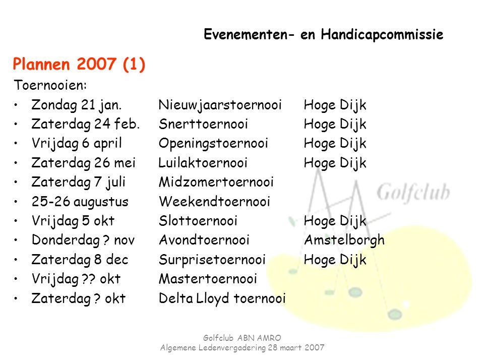 Golfclub ABN AMRO Algemene Ledenvergadering 28 maart 2007 Evenementen- en Handicapcommissie Plannen 2007 (1) Toernooien: Zondag 21 jan.Nieuwjaarstoern