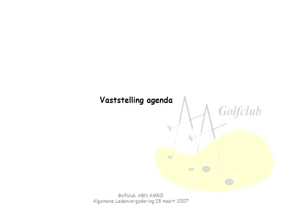 Golfclub ABN AMRO Algemene Ledenvergadering 28 maart 2007 Vaststelling agenda