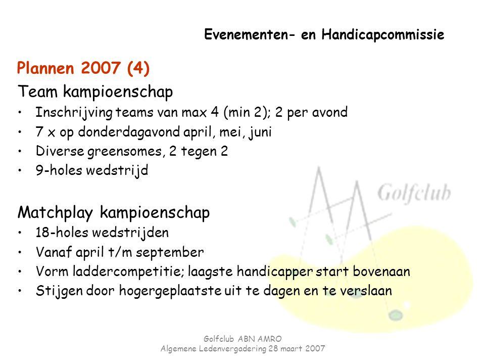 Golfclub ABN AMRO Algemene Ledenvergadering 28 maart 2007 Evenementen- en Handicapcommissie Plannen 2007 (4) Team kampioenschap Inschrijving teams van