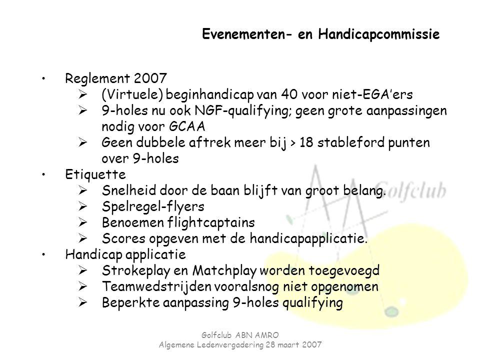 Golfclub ABN AMRO Algemene Ledenvergadering 28 maart 2007 Evenementen- en Handicapcommissie Reglement 2007  (Virtuele) beginhandicap van 40 voor niet