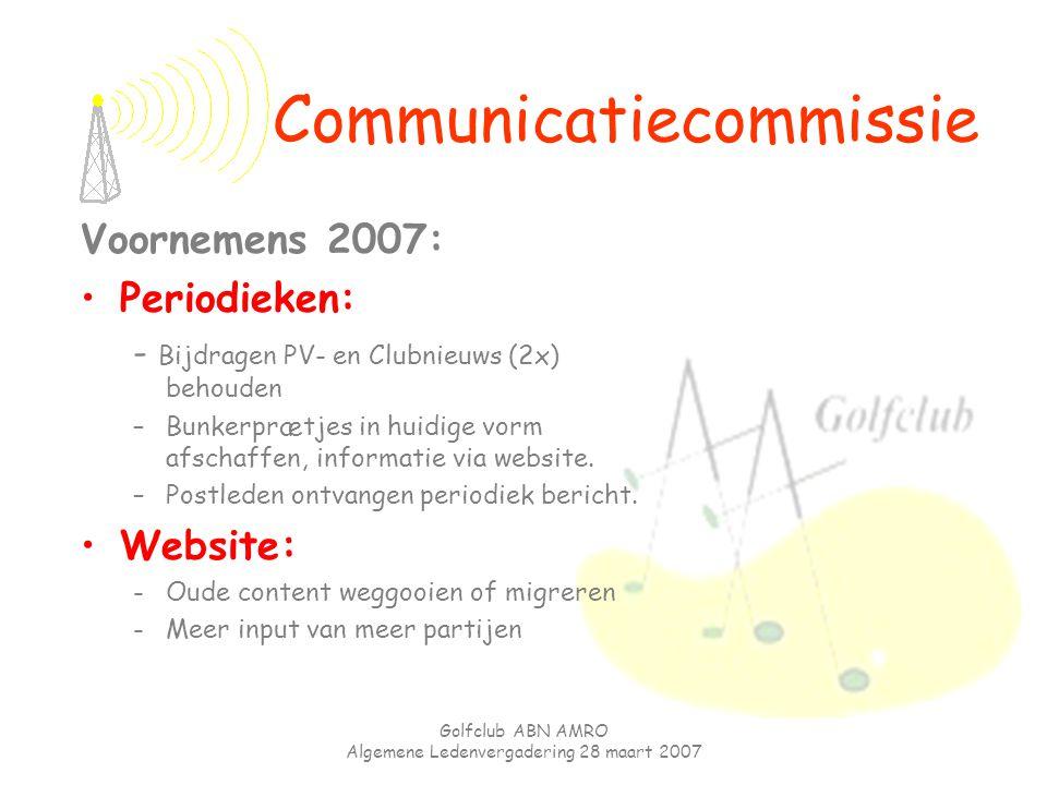 Golfclub ABN AMRO Algemene Ledenvergadering 28 maart 2007 Voornemens 2007: Periodieken: - Bijdragen PV- en Clubnieuws (2x) behouden –Bunkerprætjes in
