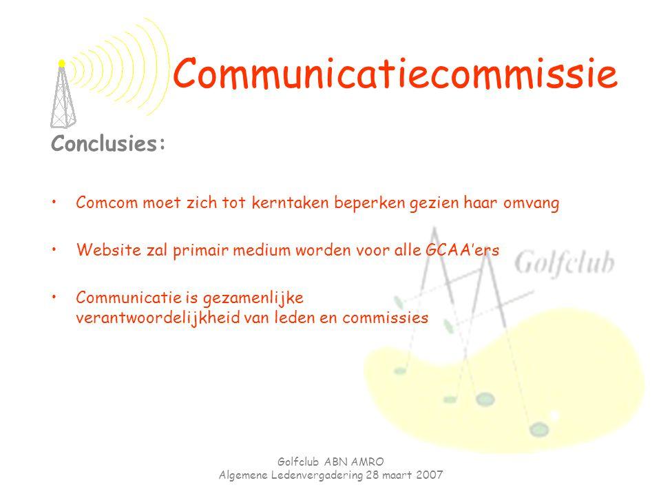 Golfclub ABN AMRO Algemene Ledenvergadering 28 maart 2007 Conclusies: Comcom moet zich tot kerntaken beperken gezien haar omvang Website zal primair m
