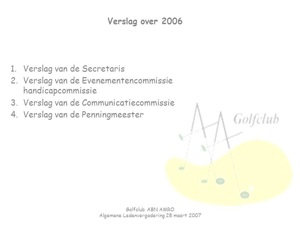 Golfclub ABN AMRO Algemene Ledenvergadering 28 maart 2007 Verslag over 2006 1.Verslag van de Secretaris 2.Verslag van de Evenementencommissie handicap