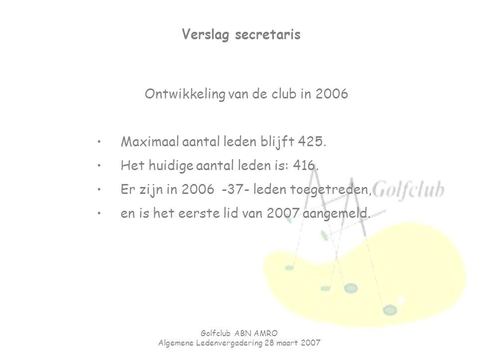 Golfclub ABN AMRO Algemene Ledenvergadering 28 maart 2007 Verslag secretaris Ontwikkeling van de club in 2006 Maximaal aantal leden blijft 425. Het hu