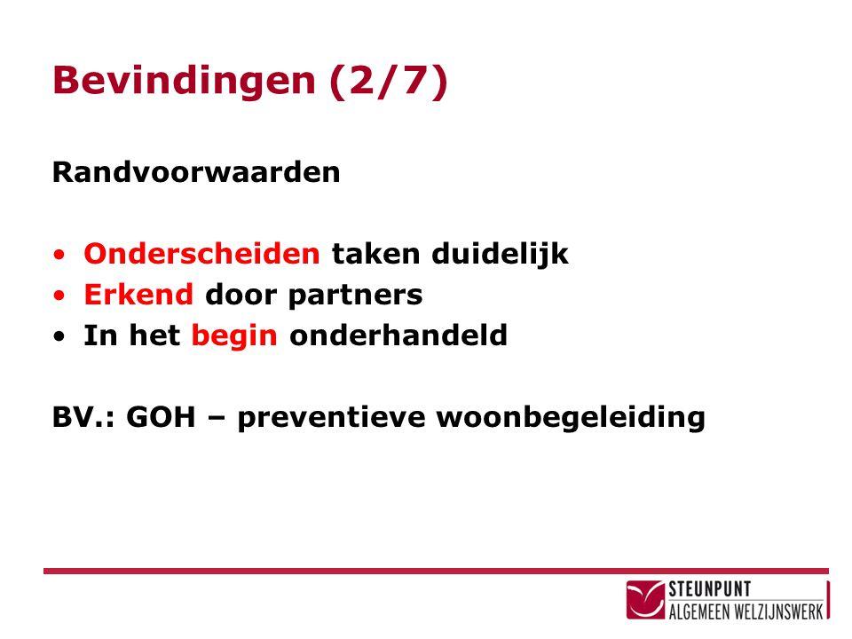 Bevindingen (2/7) Randvoorwaarden Onderscheiden taken duidelijk Erkend door partners In het begin onderhandeld BV.: GOH – preventieve woonbegeleiding