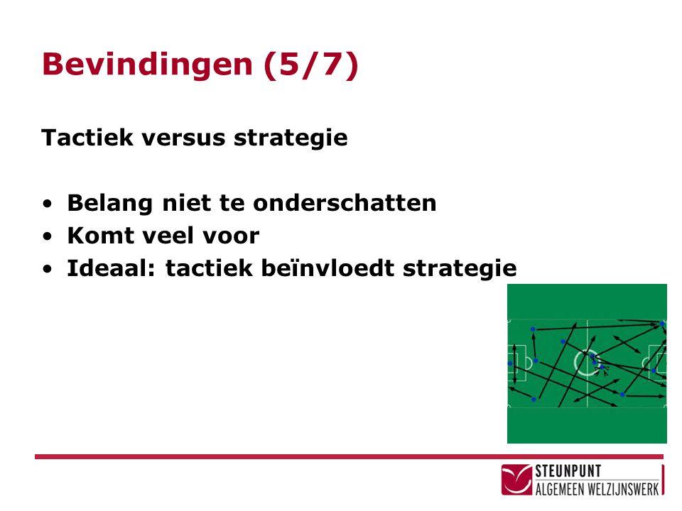 Bevindingen (5/7) Tactiek versus strategie Belang niet te onderschatten Komt veel voor Ideaal: tactiek beïnvloedt strategie