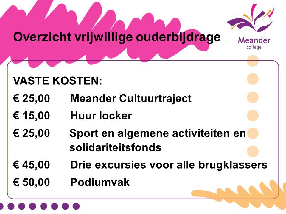 Overzicht vrijwillige ouderbijdrage VASTE KOSTEN: € 25,00Meander Cultuurtraject € 15,00 Huur locker € 25,00Sport en algemene activiteiten en solidarit