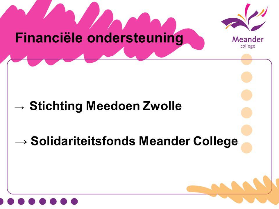 Financiële ondersteuning → Stichting Meedoen Zwolle → Solidariteitsfonds Meander College